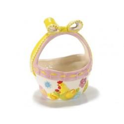 Cestino in ceramica con fiocco e gallina h cm.16