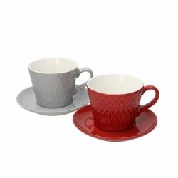 Set 2 Tazzoni da Latte con piattino Reggae Grigio e Rosso in porcellana Tognana