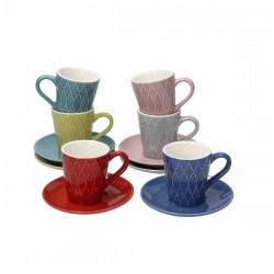 Set 6 Tazzine caffè con piattino Reggae in porcellana Tognana
