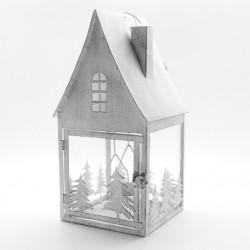 Lanterna con alberi alta Grande metallo e vetro cm.20x20x39h