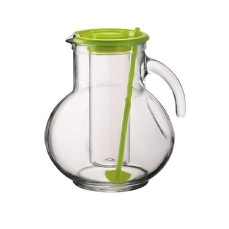 Brocca Caraffa Kufra in vetro lt.2 tappo Verde Bormioli
