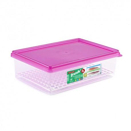 Contenitore frigo lt.3 rettangolare in plastica con griglia