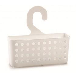 Cestino Bagno Doccia con gancio in plastica Bianco cm.26x8x24