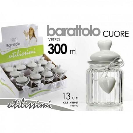 BARATTOLO IN VETRO CUORE 300 ML. C/TAPPO PORCELLANA CM.13