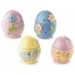 Barattolo Uovo portadolci ceramica colorata c/decoro a rilievo