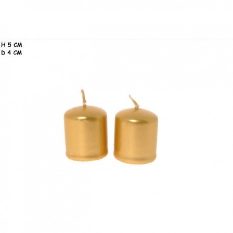 Candela cilindro Oro 4x5 cm.